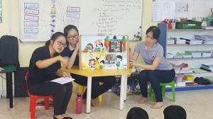 Good Sister & Bad Sister, a story about moral values was depicted using an interactive story board. The whole session used a Q & A based course between the teacher and students, whereby the teachers asked the student to predict what would happen next and evaluate if what happened in the story was good behaviour or otherwise. At the end, the moral of the story was repeated to the children to send the message across.